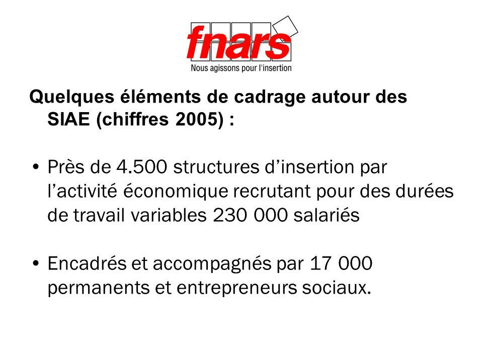 Quelques éléments de cadrage autour des SIAE (chiffres 2005) : Près de 4.500 structures dinsertion par lactivité économique recrutant pour des durées de travail variables 230 000 salariés Encadrés et accompagnés par 17 000 permanents et entrepreneurs sociaux.