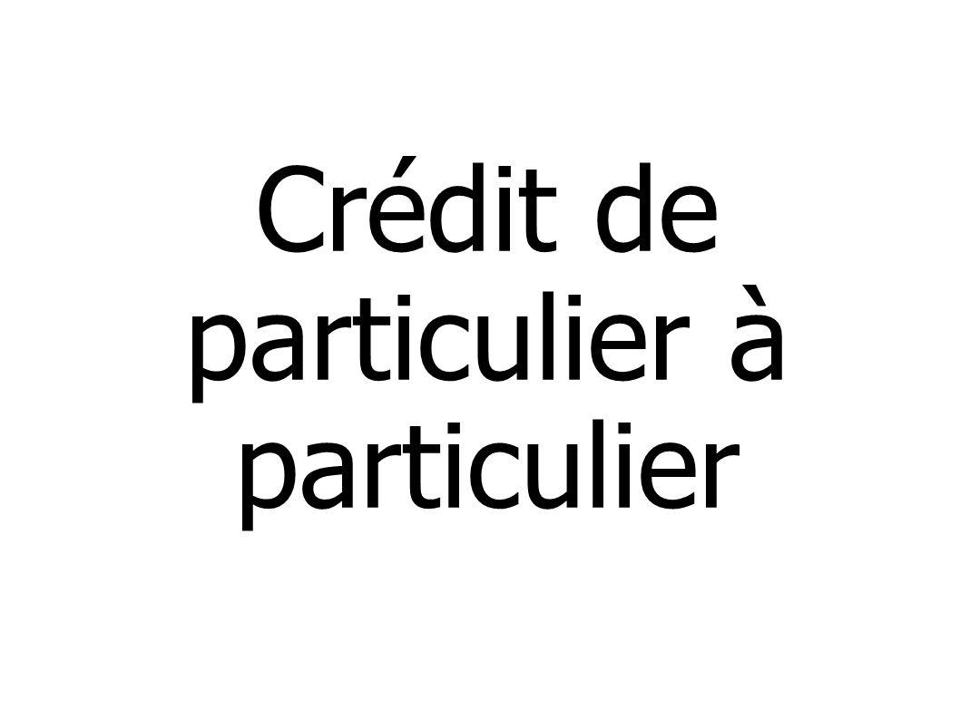 Crédit de particulier à particulier