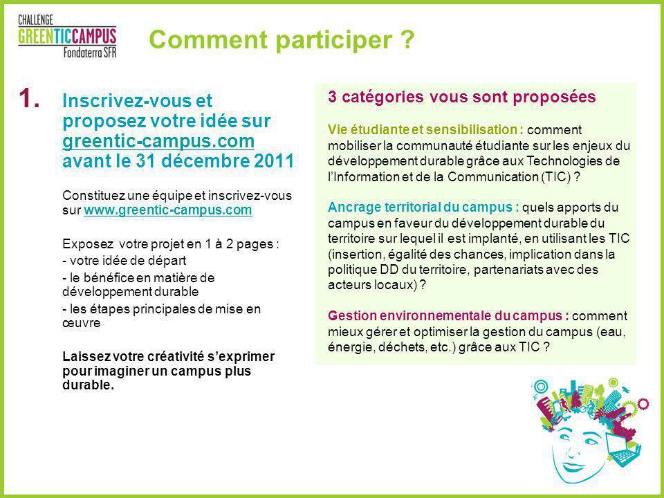 Comment participer ? 3 catégories vous sont proposées Vie étudiante et sensibilisation : comment mobiliser la communauté étudiante sur les enjeux du d