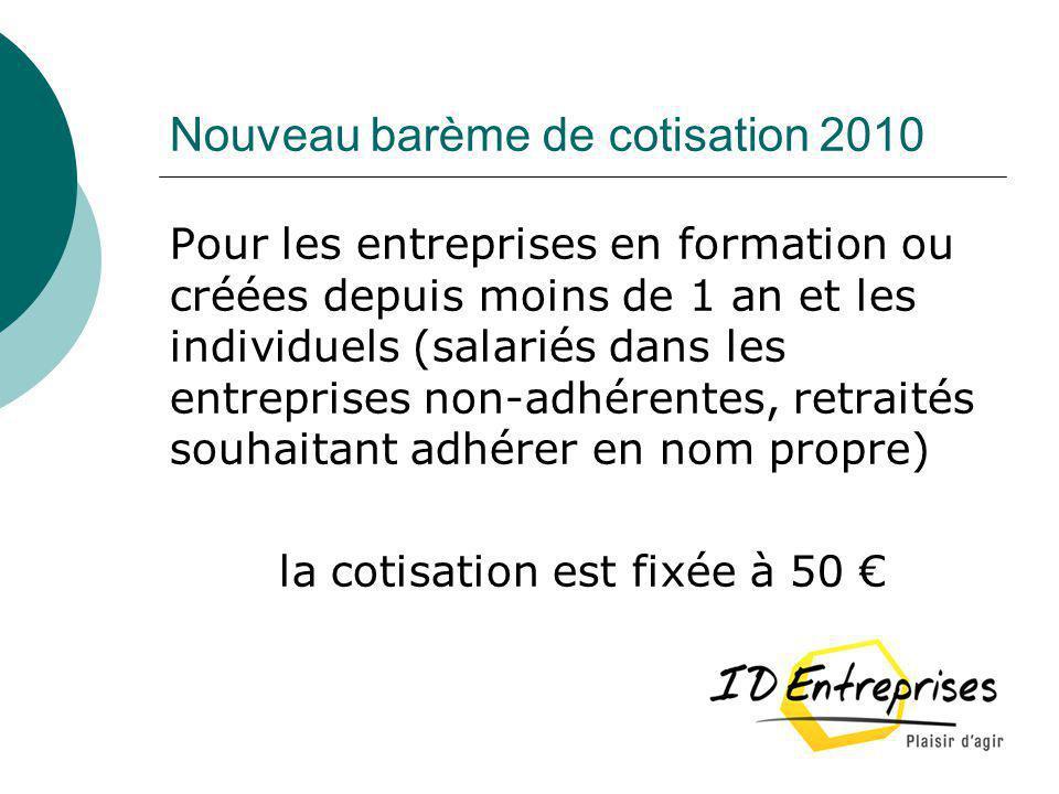 Nouveau barème de cotisation 2010 Pour les entreprises en formation ou créées depuis moins de 1 an et les individuels (salariés dans les entreprises n