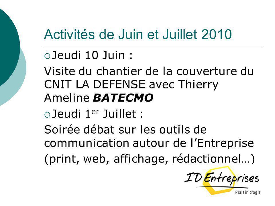 Activités de Juin et Juillet 2010 Jeudi 10 Juin : Visite du chantier de la couverture du CNIT LA DEFENSE avec Thierry Ameline BATECMO Jeudi 1 er Juill
