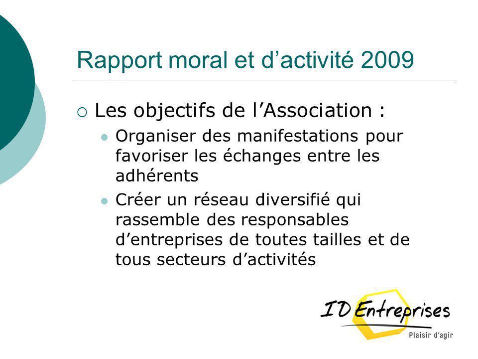 Rapport moral et dactivité 2009 Les objectifs de lAssociation : Organiser des manifestations pour favoriser les échanges entre les adhérents Créer un
