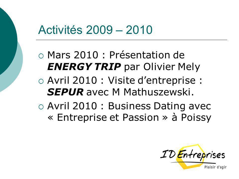 Activités 2009 – 2010 Mars 2010 : Présentation de ENERGY TRIP par Olivier Mely Avril 2010 : Visite dentreprise : SEPUR avec M Mathuszewski. Avril 2010