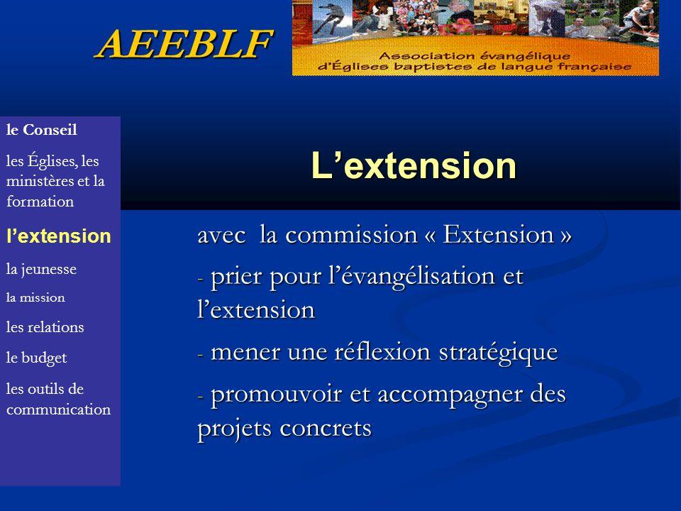 Lextension avec la commission « Extension » - prier pour lévangélisation et lextension - mener une réflexion stratégique - promouvoir et accompagner des projets concrets AEEBLF le Conseil les Églises, les ministères et la formation lextension la jeunesse la mission les relations le budget les outils de communication