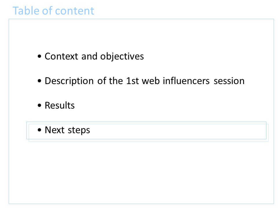 Table of content Context and objectives Description of the 1st web influencers session Results Next steps