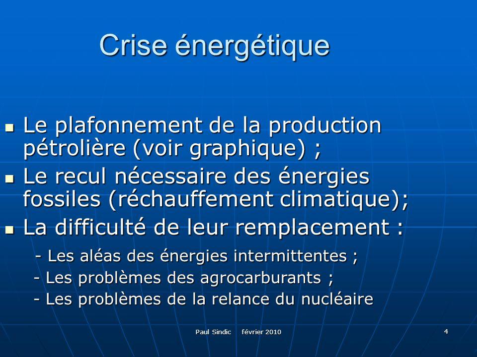 Paul Sindic février 2010 4 Crise énergétique Le plafonnement de la production pétrolière (voir graphique) ; Le plafonnement de la production pétrolièr