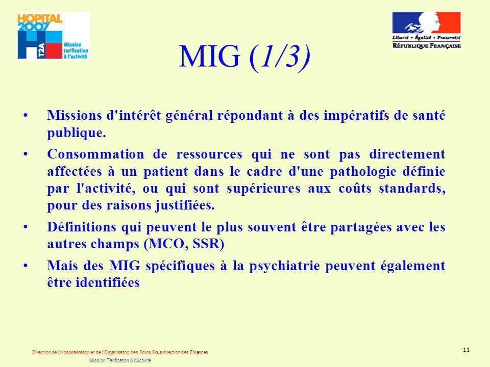 Direction de lHospitalisation et de lOrganisation des Soins-Sous-direction des Finances Mission Tarification A lActivité 11 MIG (1/3) Missions d intérêt général répondant à des impératifs de santé publique.