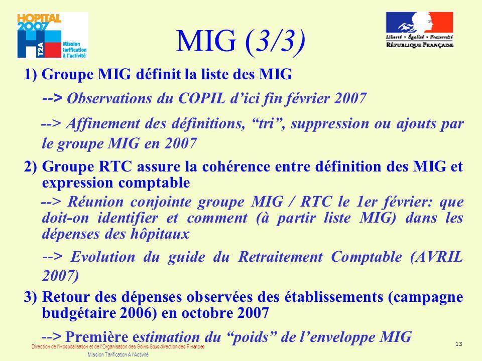 Direction de lHospitalisation et de lOrganisation des Soins-Sous-direction des Finances Mission Tarification A lActivité 13 MIG (3/3) 1) Groupe MIG définit la liste des MIG --> Observations du COPIL dici fin février 2007 --> Affinement des définitions, tri, suppression ou ajouts par le groupe MIG en 2007 2) Groupe RTC assure la cohérence entre définition des MIG et expression comptable --> Réunion conjointe groupe MIG / RTC le 1er février: que doit-on identifier et comment (à partir liste MIG) dans les dépenses des hôpitaux --> Evolution du guide du Retraitement Comptable (AVRIL 2007) 3) Retour des dépenses observées des établissements (campagne budgétaire 2006) en octobre 2007 --> Première estimation du poids de lenveloppe MIG