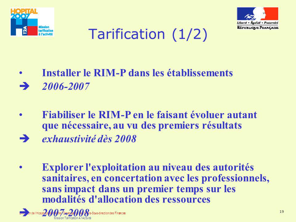 Direction de lHospitalisation et de lOrganisation des Soins-Sous-direction des Finances Mission Tarification A lActivité 19 Tarification (1/2) Install