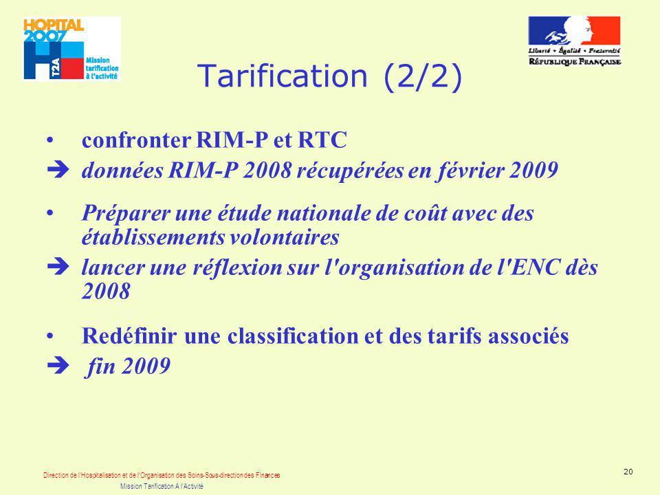 Direction de lHospitalisation et de lOrganisation des Soins-Sous-direction des Finances Mission Tarification A lActivité 20 Tarification (2/2) confronter RIM-P et RTC données RIM-P 2008 récupérées en février 2009 Préparer une étude nationale de coût avec des établissements volontaires lancer une réflexion sur l organisation de l ENC dès 2008 Redéfinir une classification et des tarifs associés fin 2009