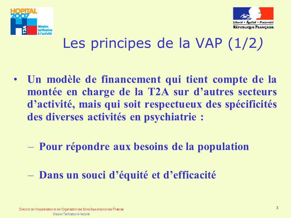 Direction de lHospitalisation et de lOrganisation des Soins-Sous-direction des Finances Mission Tarification A lActivité 3 Les principes de la VAP (1/