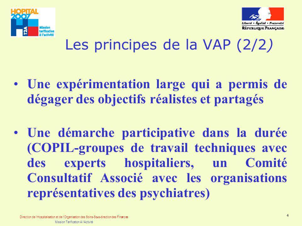 Direction de lHospitalisation et de lOrganisation des Soins-Sous-direction des Finances Mission Tarification A lActivité 4 Les principes de la VAP (2/