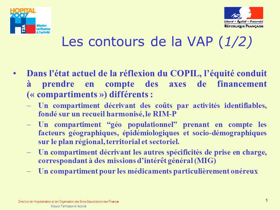 Direction de lHospitalisation et de lOrganisation des Soins-Sous-direction des Finances Mission Tarification A lActivité 5 Les contours de la VAP (1/2