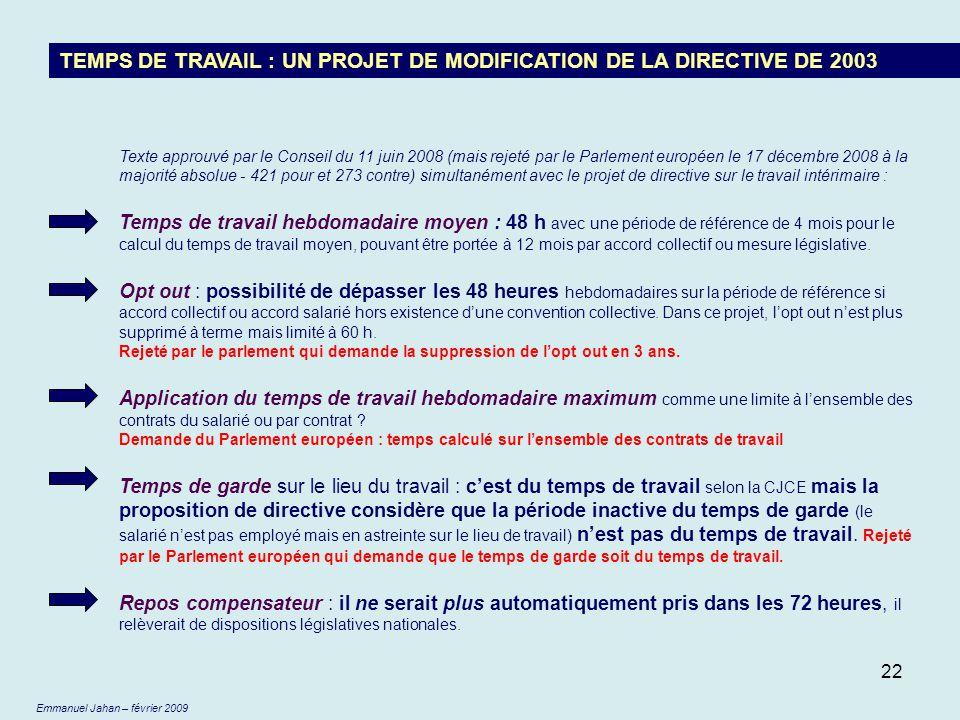 22 TEMPS DE TRAVAIL : UN PROJET DE MODIFICATION DE LA DIRECTIVE DE 2003 Texte approuvé par le Conseil du 11 juin 2008 (mais rejeté par le Parlement eu