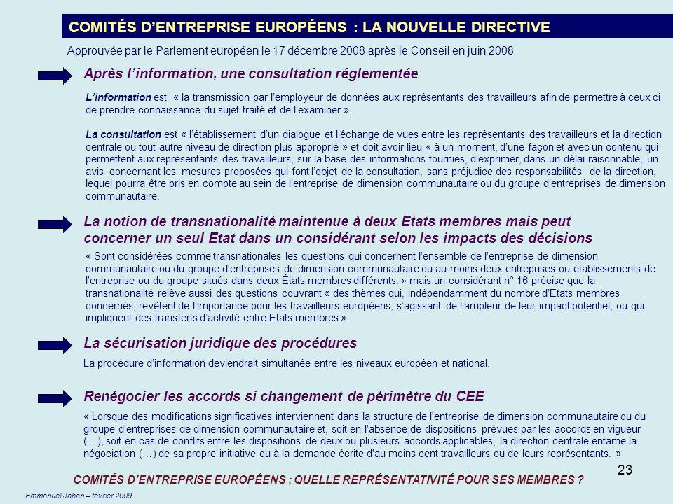 23 COMITÉS DENTREPRISE EUROPÉENS : LA NOUVELLE DIRECTIVE Après linformation, une consultation réglementée La sécurisation juridique des procédures La
