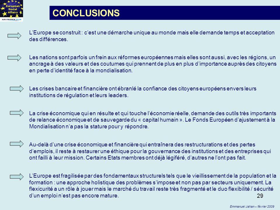 29 CONCLUSIONS LEurope se construit : cest une démarche unique au monde mais elle demande temps et acceptation des différences. Les nations sont parfo
