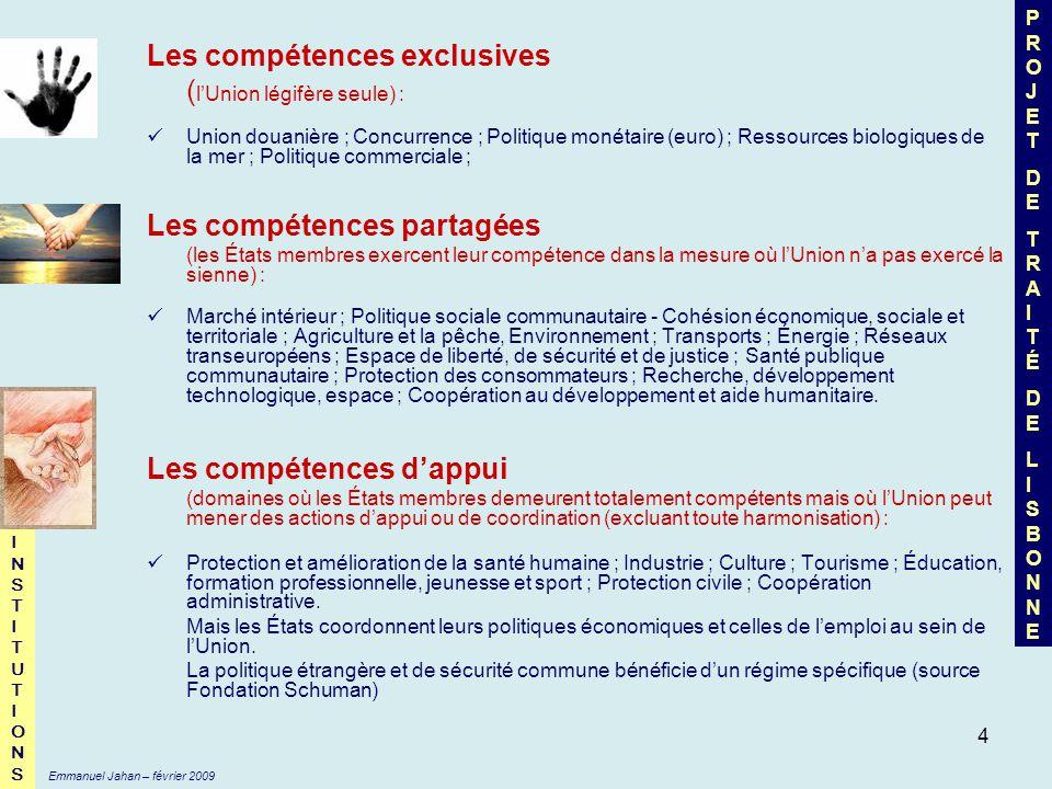 5 Commission Européenne Conseil (de lUnion européenne) (appelé Conseil des Ministres avec Présidence tournante tous les 6 mois) Parlement Européen propose amendements adopte refuse MONOPOLE DE LINITIATIVE ET GARANTE DE LAPPLICATION DES TRAITÉS Le Conseil européen (chefs dEtat avec présidence tournante de 2,5 ans renouvelable une fois) oriente CO-DÉCISION ÉTENDUE À 40 DOMAINES Droit dinitiative citoyenne pour « inviter » la Commission à soumettre une proposition (1 million de signatures) TRAITÉ DE LISBONNE : UNE NOUVELLE DONNE POUR LE « TRIANGLE » DE LUNION EUROPÉENNE INSTITUTIONSINSTITUTIONS Cour des Comptes Institutions judiciaires (3 Cours) Comité des Régions Comité Economique et Social Européen Avis consultatif Emmanuel Jahan – février 2009