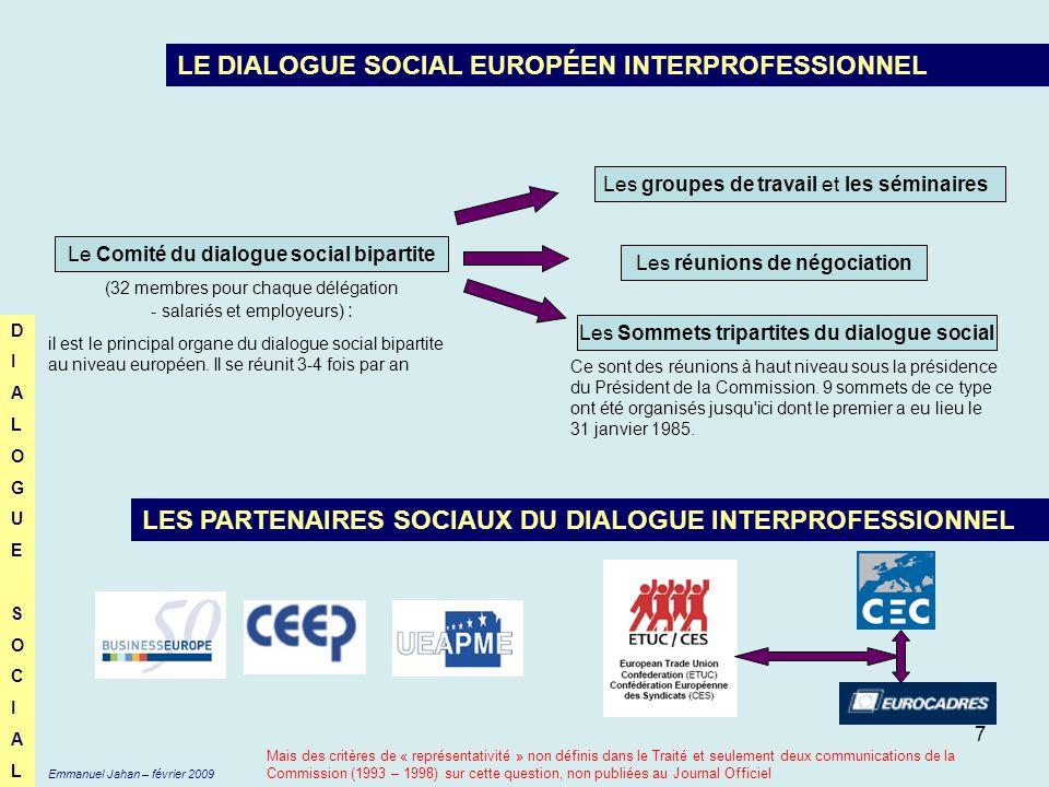 7 LE DIALOGUE SOCIAL EUROPÉEN INTERPROFESSIONNEL Le Comité du dialogue social bipartite (32 membres pour chaque délégation - salariés et employeurs) :