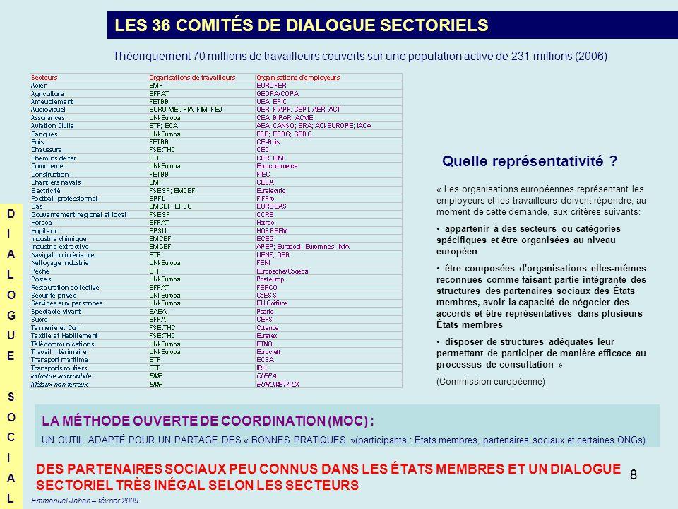 8 LES 36 COMITÉS DE DIALOGUE SECTORIELS « Les organisations européennes représentant les employeurs et les travailleurs doivent répondre, au moment de