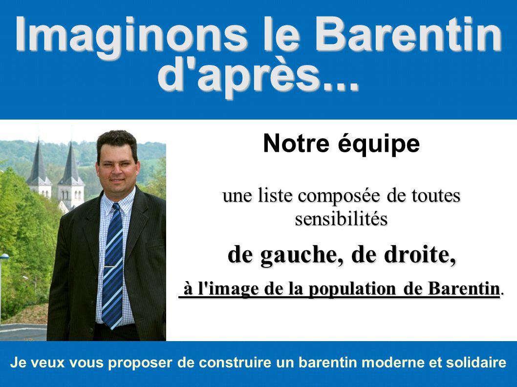 Notre équipe une liste composée de toutes sensibilités de gauche, de droite, à l'image de la population de Barentin. Imaginons le Barentin d'après...