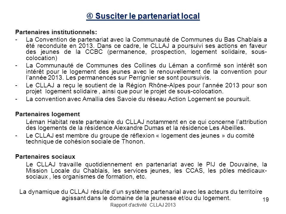 19 Susciter le partenariat local Susciter le partenariat local Partenaires institutionnels: -La Convention de partenariat avec la Communauté de Commun
