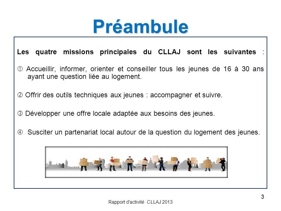 3 Préambule Les quatre missions principales du CLLAJ sont les suivantes : Accueillir, informer, orienter et conseiller tous les jeunes de 16 à 30 ans