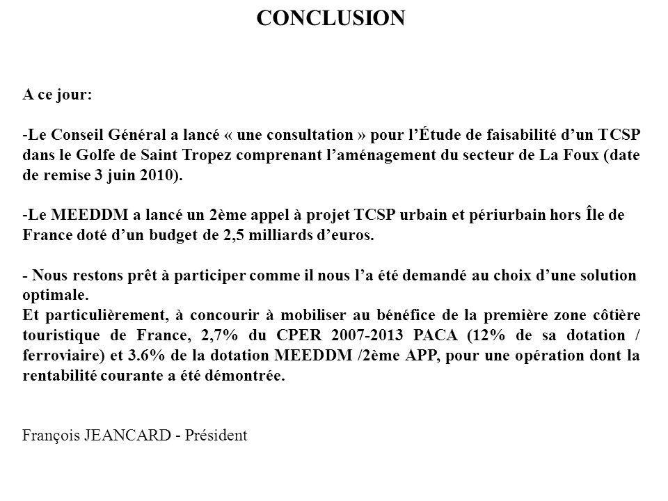 CONCLUSION A ce jour: -Le Conseil Général a lancé « une consultation » pour lÉtude de faisabilité dun TCSP dans le Golfe de Saint Tropez comprenant la