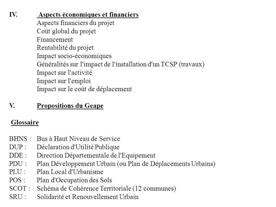 IV. Aspects économiques et financiers Aspects financiers du projet Coût global du projet Financement Rentabilité du projet Impact socio-économiques Gé