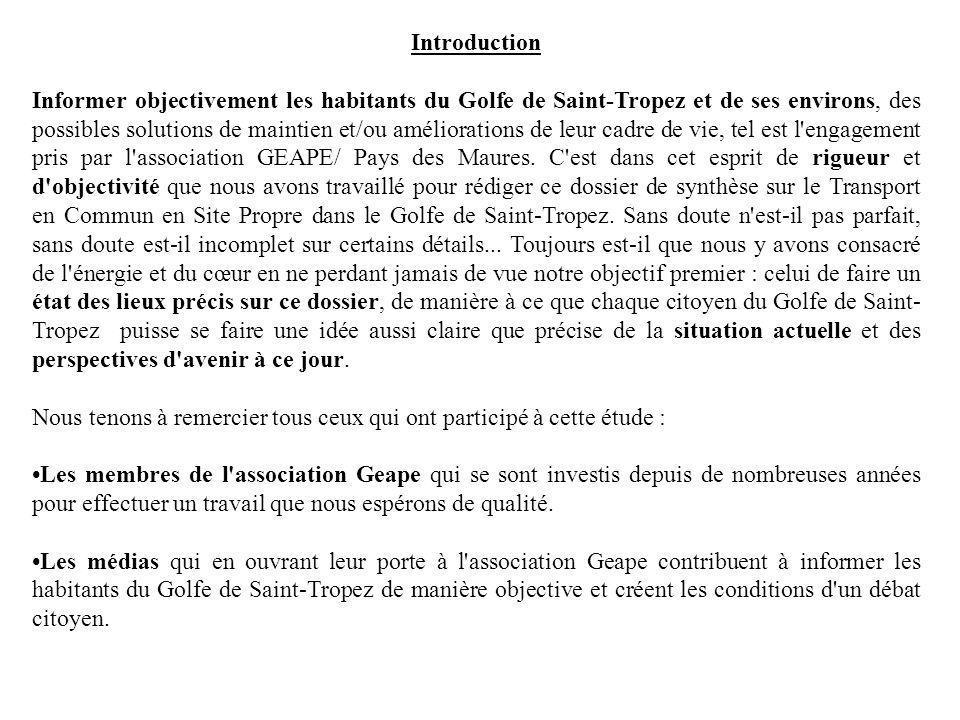 Introduction Informer objectivement les habitants du Golfe de Saint-Tropez et de ses environs, des possibles solutions de maintien et/ou améliorations