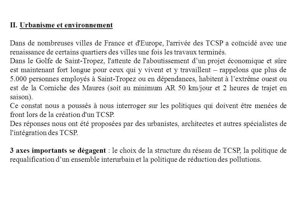 II. Urbanisme et environnement Dans de nombreuses villes de France et d'Europe, l'arrivée des TCSP a coïncidé avec une renaissance de certains quartie
