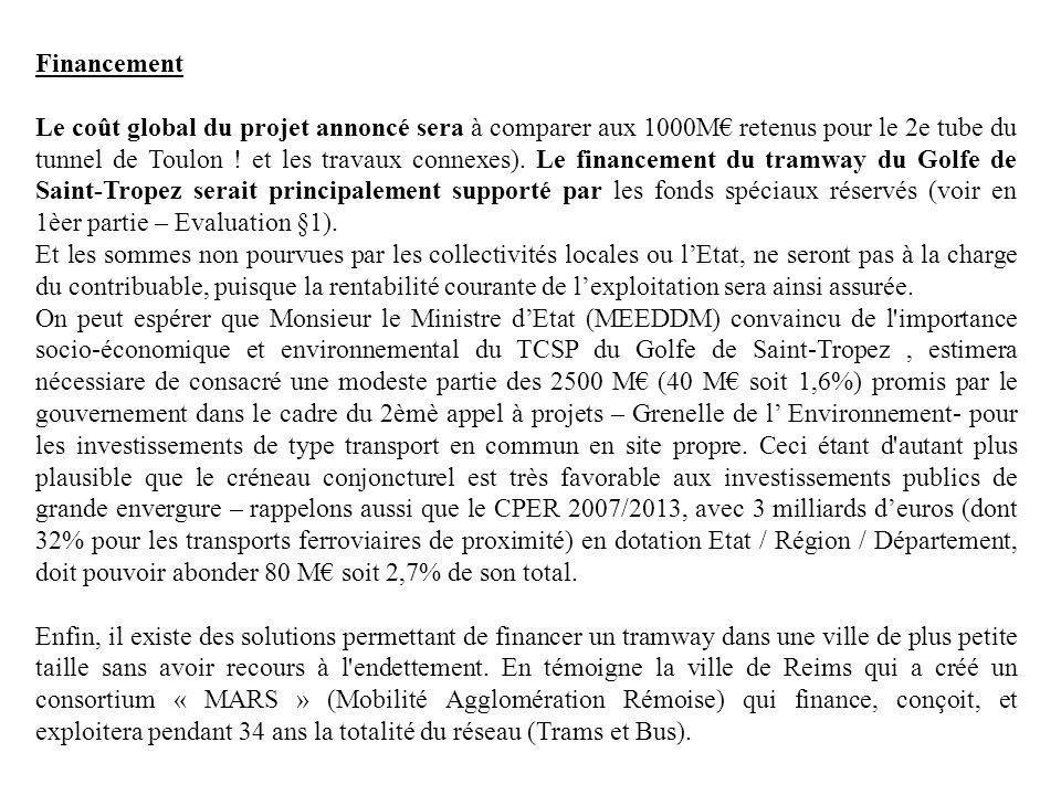 Financement Le coût global du projet annoncé sera à comparer aux 1000M retenus pour le 2e tube du tunnel de Toulon ! et les travaux connexes). Le fina