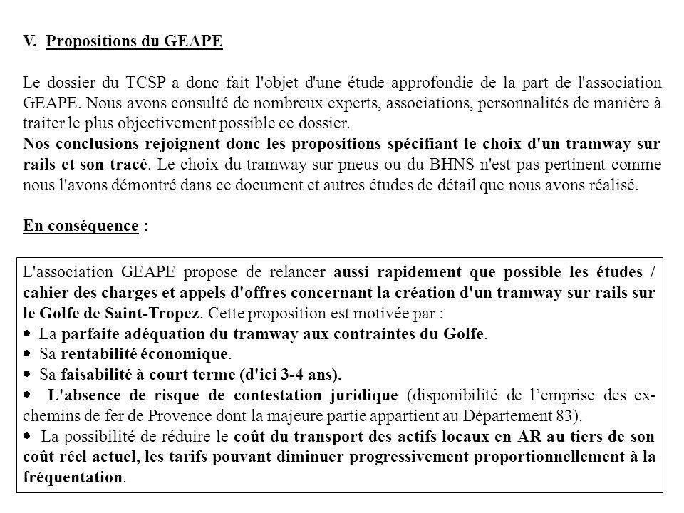 V. Propositions du GEAPE Le dossier du TCSP a donc fait l'objet d'une étude approfondie de la part de l'association GEAPE. Nous avons consulté de nomb