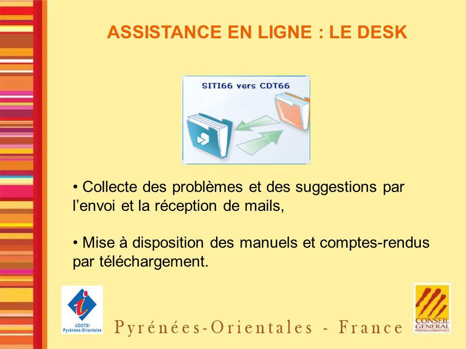 ASSISTANCE EN LIGNE : LE DESK Collecte des problèmes et des suggestions par lenvoi et la réception de mails, Mise à disposition des manuels et comptes