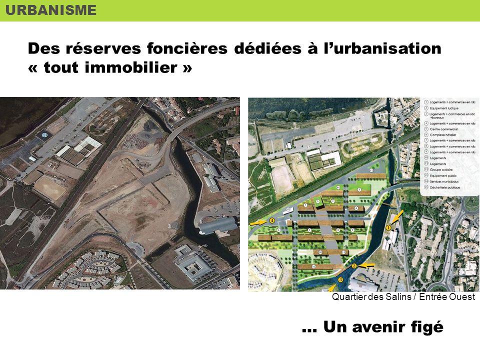 URBANISME ETAT DES LIEUX Des réserves foncières dédiées à lurbanisation « tout immobilier » … Un avenir figé Quartier des Salins / Entrée Ouest