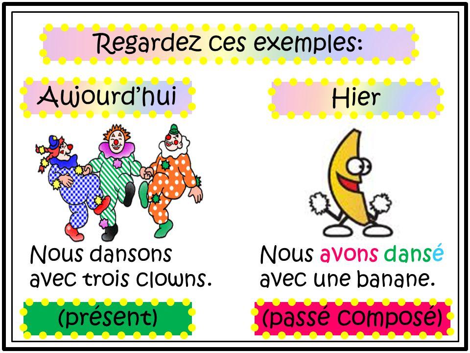 Regardez ces exemples: Nous dansons avec trois clowns.