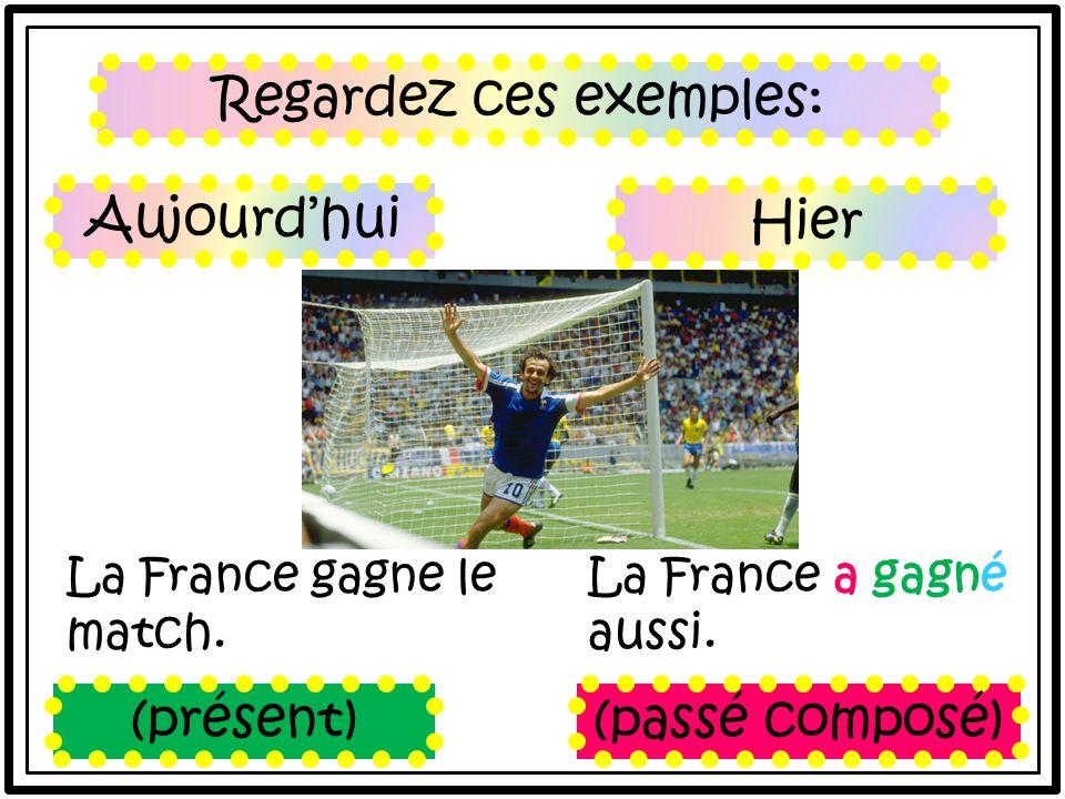 Regardez ces exemples: La France gagne le match. La France a gagné aussi.