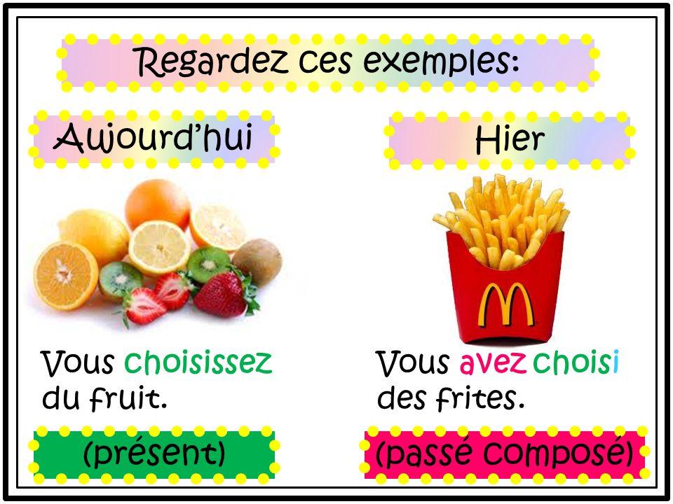 Regardez ces exemples: Vous choisissez du fruit. Vous avez choisi des frites.