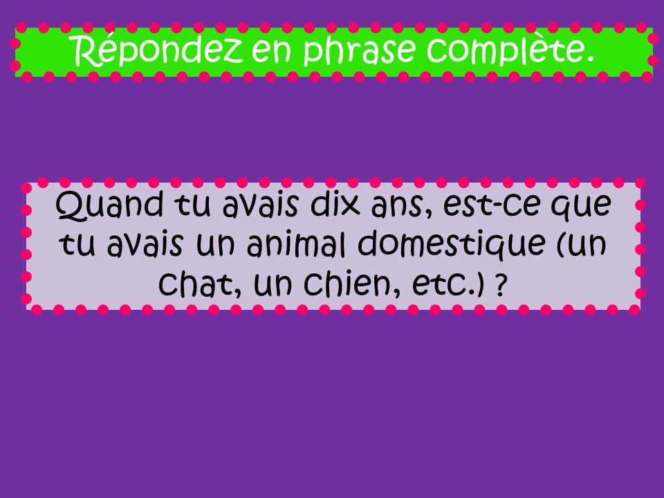 Répondez en phrase complète. Quand tu avais dix ans, est-ce que tu avais un animal domestique (un chat, un chien, etc.) ?