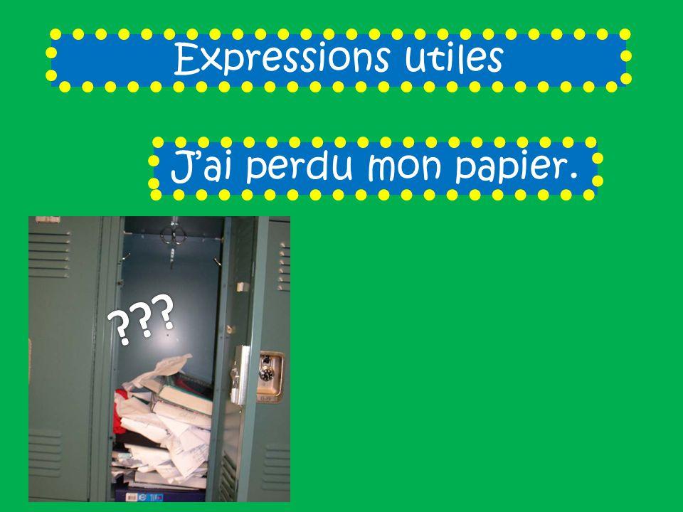 Expressions utiles Jai perdu mon papier.