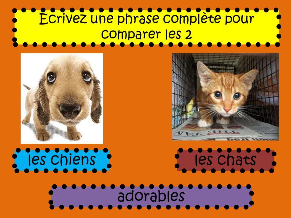 Ecrivez une phrase complète pour comparer les 2 adorables les chiensles chats