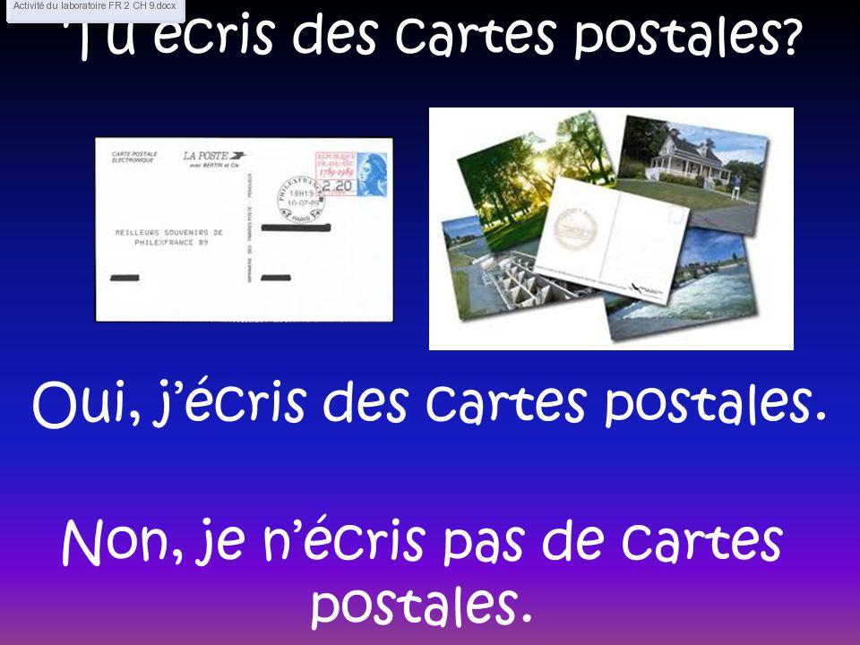 Tu écris des cartes postales? Oui, jécris des cartes postales. Non, je nécris pas de cartes postales.