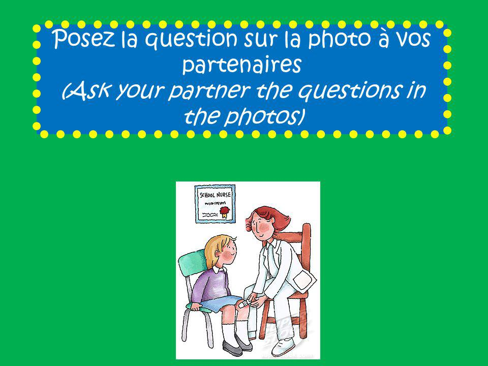 Posez la question sur la photo à vos partenaires (Ask your partner the questions in the photos)