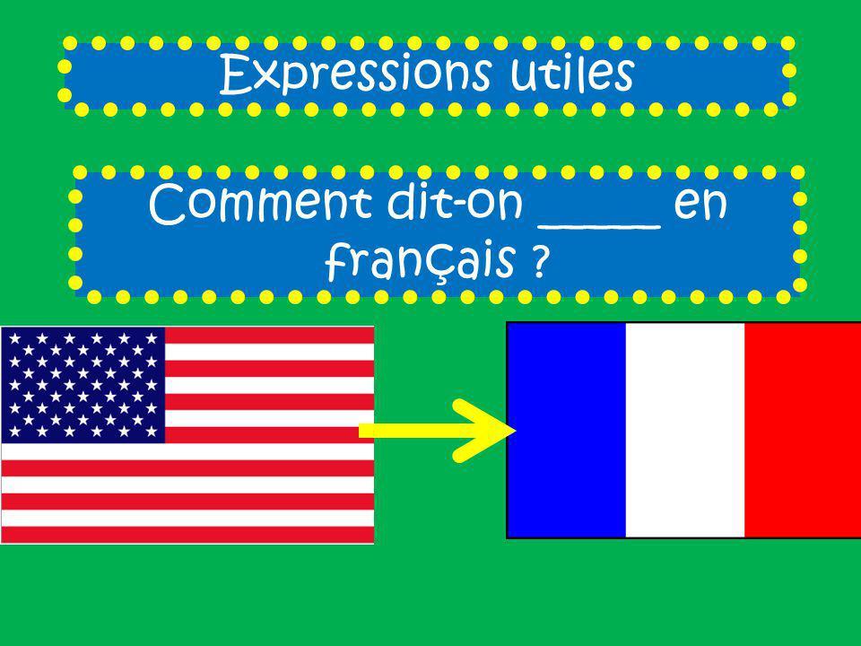 Expressions utiles Comment dit-on _____ en français ?