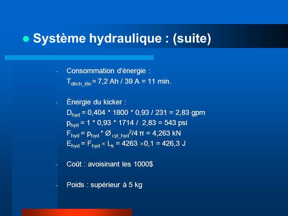 - Consommation dénergie : T déch_éle = 7,2 Ah / 39 A = 11 min. - Énergie du kicker : D hyd = 0,404 * 1800 * 0,93 / 231 = 2,83 gpm p hyd = 1 * 0,93 * 1
