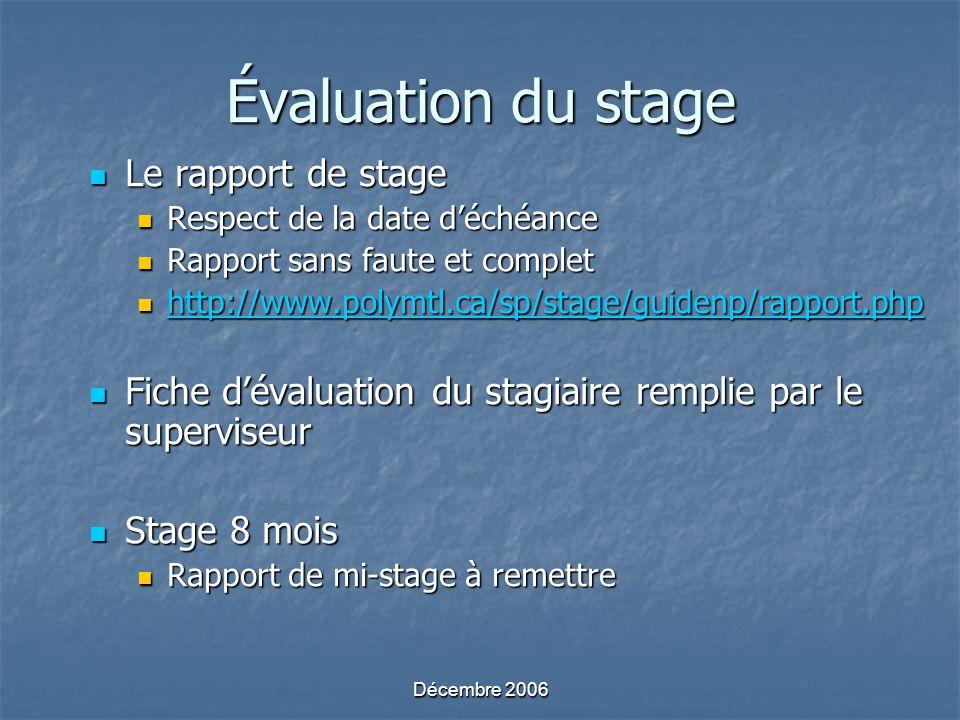 Décembre 2006 Évaluation du stage Le rapport de stage Le rapport de stage Respect de la date déchéance Respect de la date déchéance Rapport sans faute et complet Rapport sans faute et complet http://www.polymtl.ca/sp/stage/guidenp/rapport.php http://www.polymtl.ca/sp/stage/guidenp/rapport.php http://www.polymtl.ca/sp/stage/guidenp/rapport.php Fiche dévaluation du stagiaire remplie par le superviseur Fiche dévaluation du stagiaire remplie par le superviseur Stage 8 mois Stage 8 mois Rapport de mi-stage à remettre Rapport de mi-stage à remettre