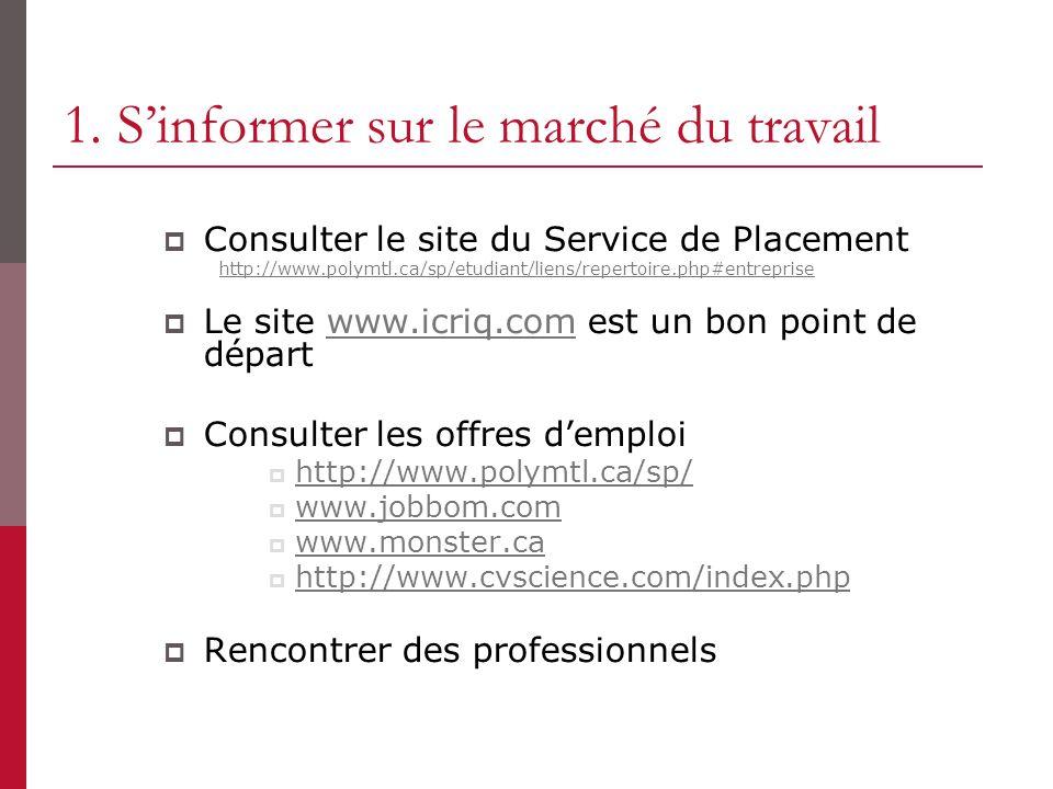 1. Sinformer sur le marché du travail Consulter le site du Service de Placement http://www.polymtl.ca/sp/etudiant/liens/repertoire.php#entreprise Le s
