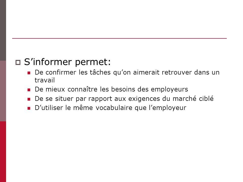 Sinformer permet: De confirmer les tâches quon aimerait retrouver dans un travail De mieux connaître les besoins des employeurs De se situer par rapport aux exigences du marché ciblé Dutiliser le même vocabulaire que lemployeur