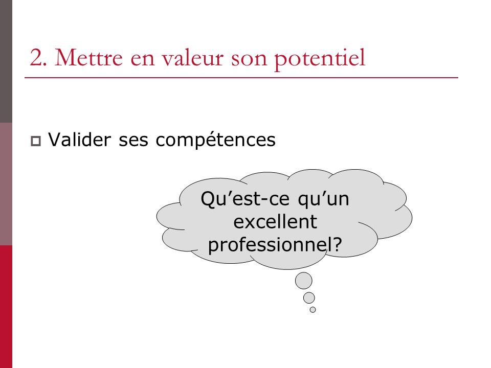 2. Mettre en valeur son potentiel Valider ses compétences Quest-ce quun excellent professionnel?