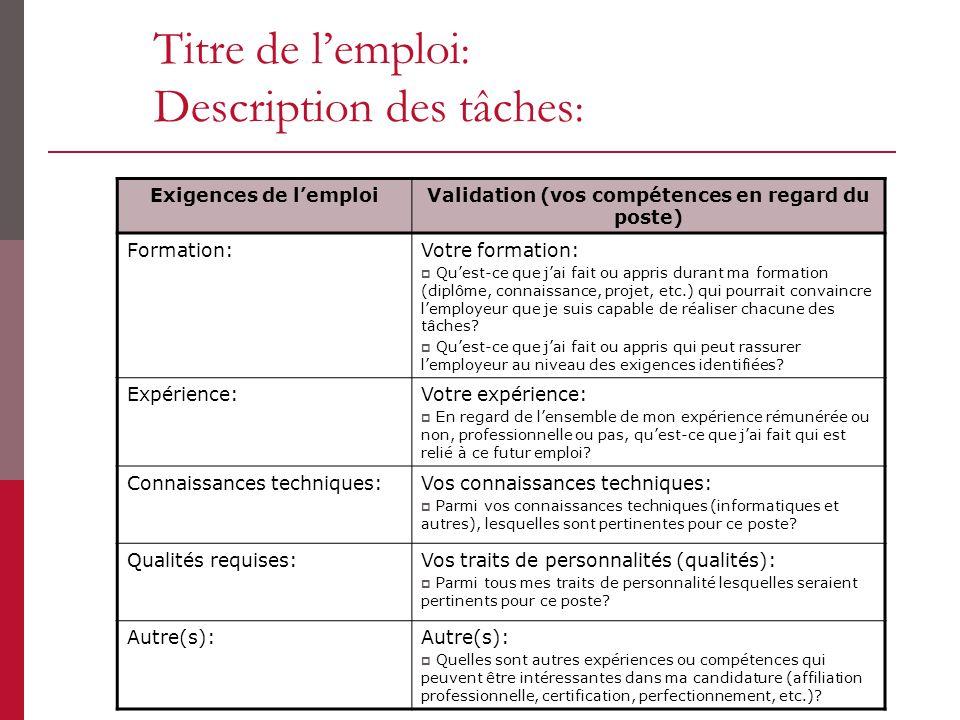 Titre de lemploi : Description des tâches : Exigences de lemploiValidation (vos compétences en regard du poste) Formation:Votre formation: Quest-ce qu