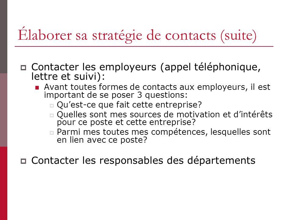 Élaborer sa stratégie de contacts (suite) Contacter les employeurs (appel téléphonique, lettre et suivi): Avant toutes formes de contacts aux employeurs, il est important de se poser 3 questions: Quest-ce que fait cette entreprise.